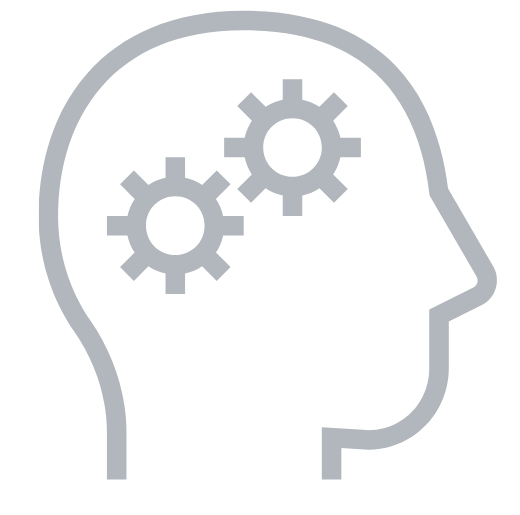 brain gear icon grey
